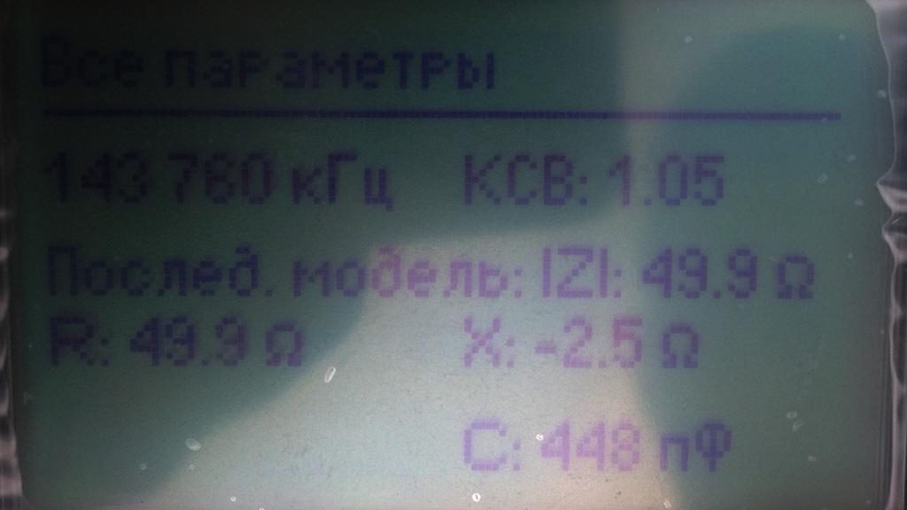 Все параметры на частоте в которой минимальный КСВ, 143.760 МГц