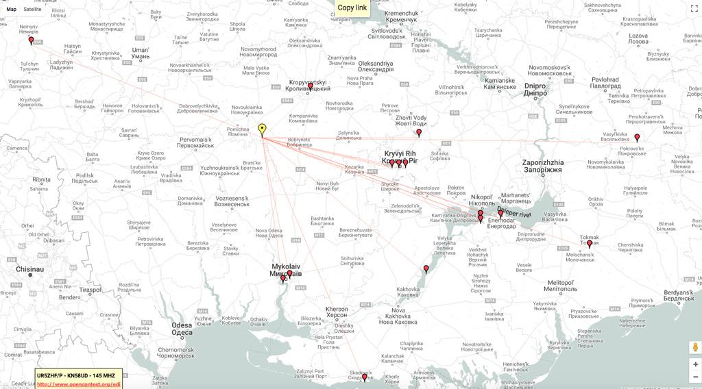 Карта QSO на Весеннем Кубке Украины по радиосвязи на УКВ