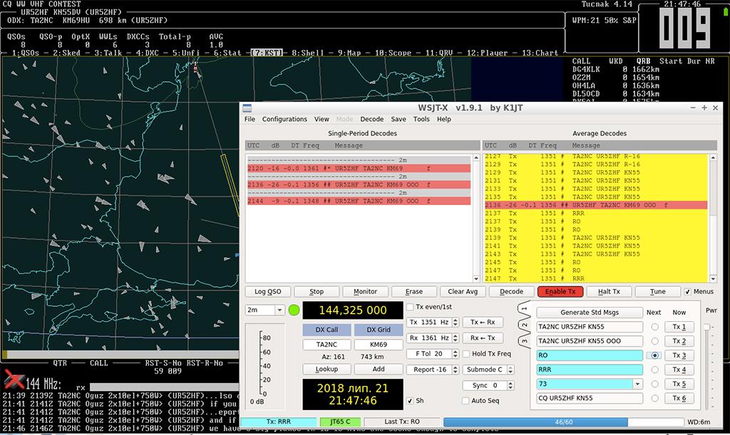 Первое QSO в режимер JT65c с отражением от самолета с TA2NC