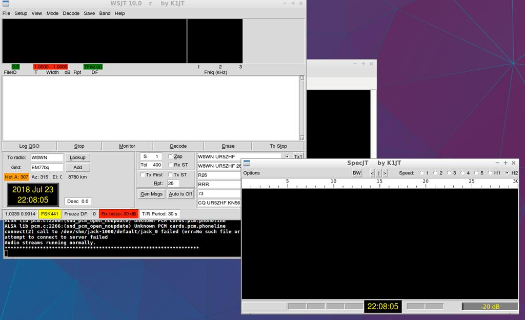 Скопилированная из исходников версия WSJT 10 под Linux